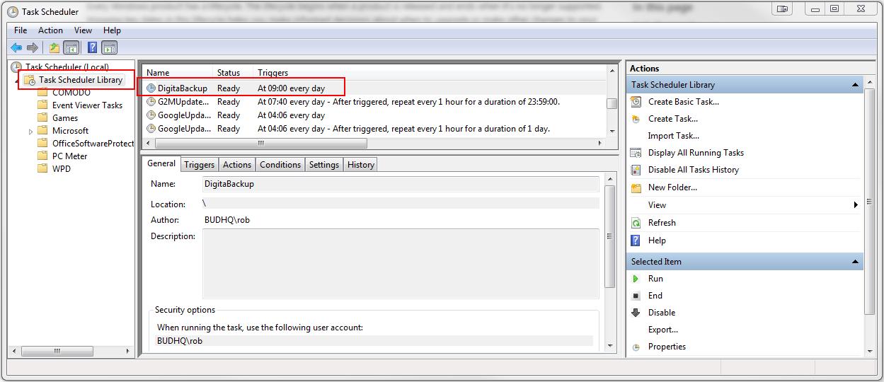 Backing up Digita database files