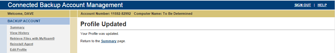 Modifying Connected Backup account information