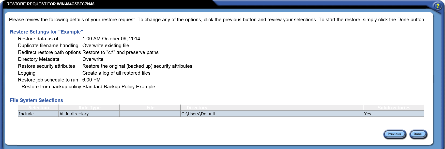 Creating A Restore File Data Security Policy Example Review The Information