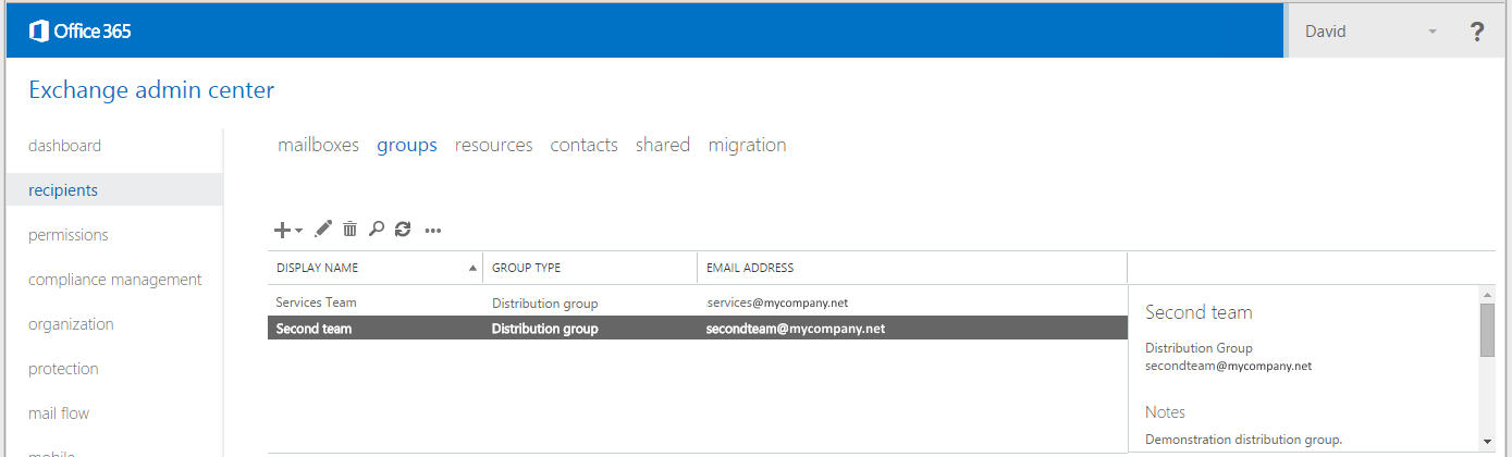 Office 365 create distribution group with external contacts