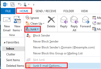 Blocking unwanted emails by using the Junk Email Filter (for ...