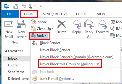 Blocking unwanted emails by using the Junk Email Filter (for Outlook