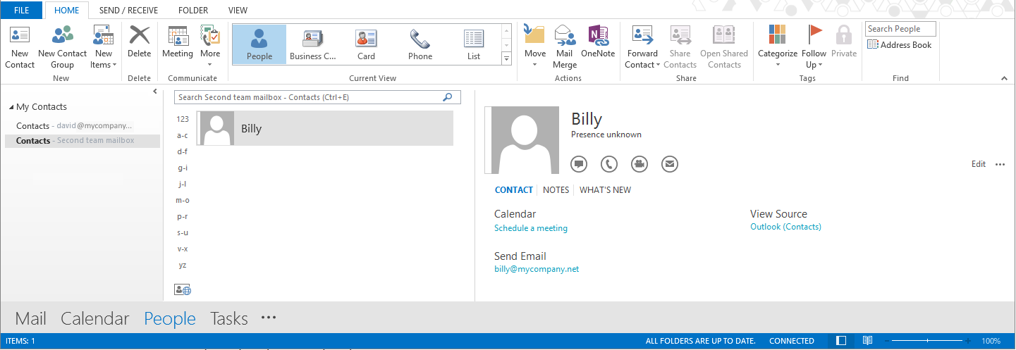 the shared contacts are displayed in the main display area