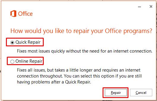 Repairing an Office application