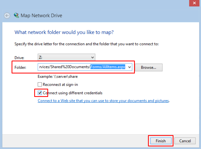 Mapping a SharePoint site as a network drive on