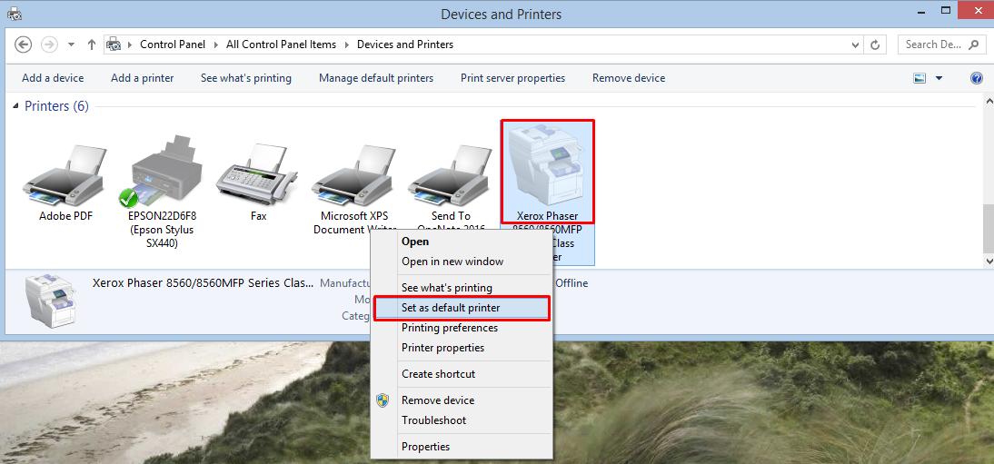 Setting a default printer